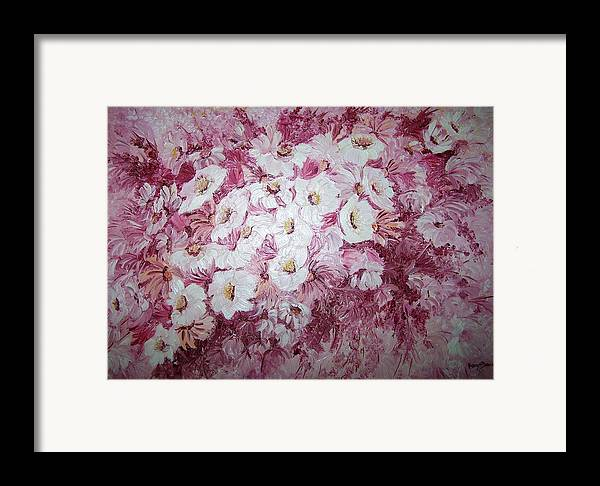 Framed Print featuring the painting Daisy Blush by Karin Dawn Kelshall- Best