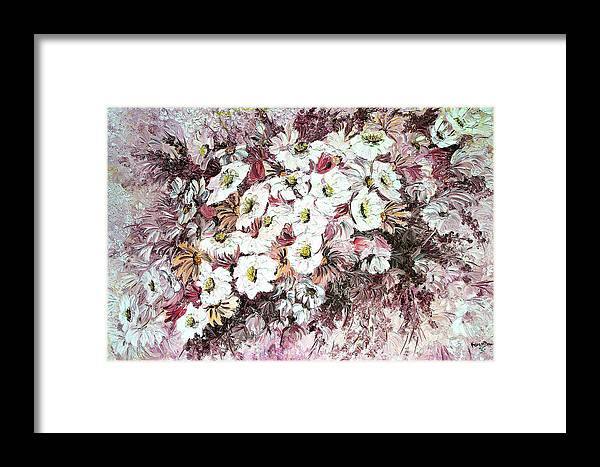 Framed Print featuring the painting Daisy Blush Remix by Karin Dawn Kelshall- Best