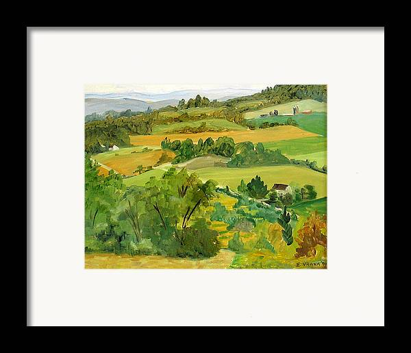 View From Daisy Hollow Framed Print featuring the painting Daisy Hollow Dryden New York by Ethel Vrana