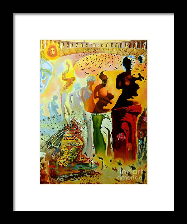 Salvador Dali Framed Print featuring the painting Dali Oil Painting Reproduction - The Hallucinogenic Toreador by Mona Edulesco