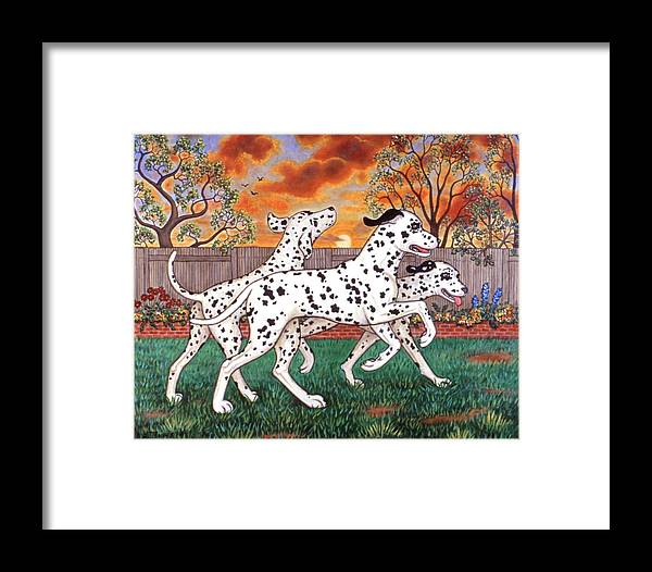Dogs Framed Print featuring the painting Dalmatians Three by Linda Mears