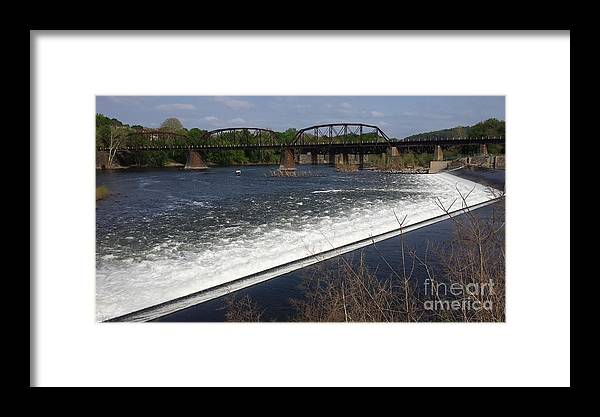 Dam Framed Print featuring the photograph Dam And Rail Runs by GJ Glorijean