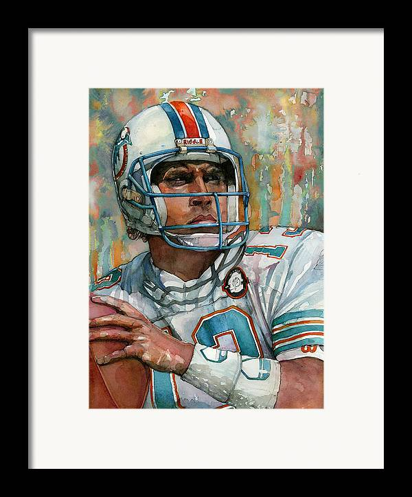 Dan Framed Print featuring the painting Dan Marino by Michael Pattison