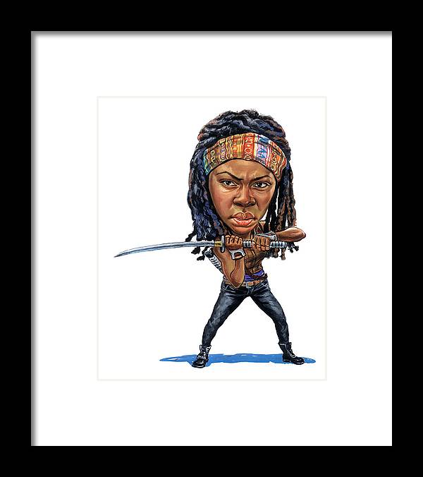 Michonne Framed Print featuring the painting Danai Gurira As Michonne by Art