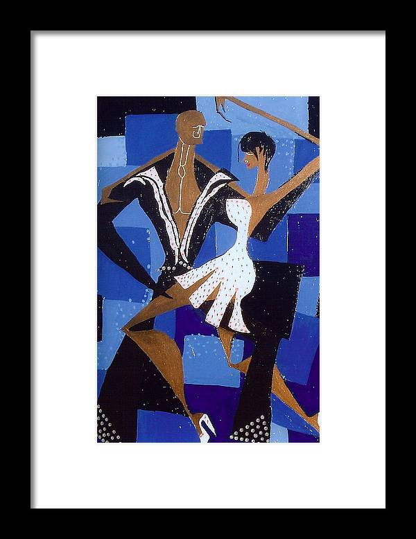 Abstract Framed Print featuring the painting Dance by Lorena Fernandez