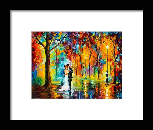 Afremov Painting Palette Knife Art Handmade Surreal Abstract Oil Landscape Original Realism Unique Special Life Color Beauty Admiring Light Reflection Piece Renown Authenticity Smooth Certificate Colorful Beauty Perspective Color Dance Love Framed Print featuring the painting Dance Of Love by Leonid Afremov