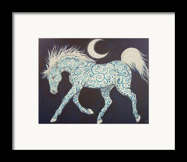 Celtic Framed Print featuring the painting Dance Of The Moon Horse by Beth Clark-McDonal