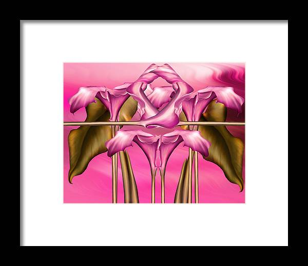 Abstract Realism Framed Print featuring the digital art Dance Of The Pink Calla Lilies IIi by Georgiana Romanovna