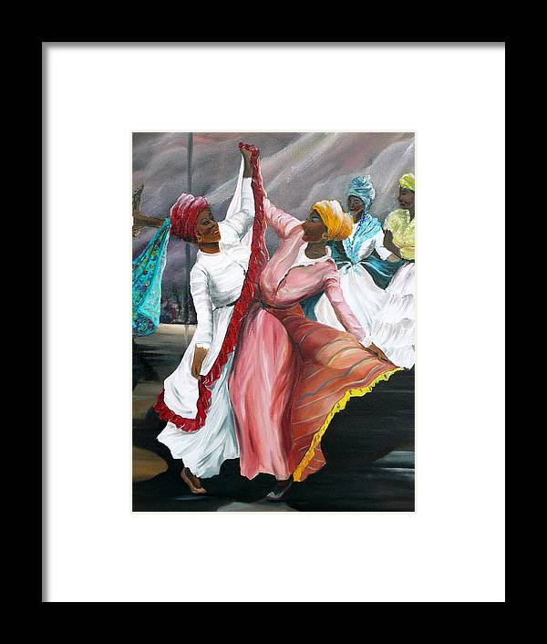 Dancers Folk Caribbean Women Painting Dance Painting Tropical Dance Painting Framed Print featuring the painting Dance The Pique 2 by Karin Dawn Kelshall- Best