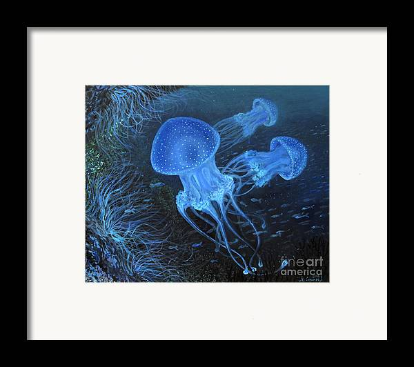 Anemone Framed Print featuring the painting Dance Under Water by Kiril Stanchev