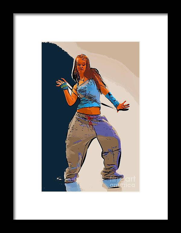 Dance Framed Print featuring the digital art Dancer 64 by College Town