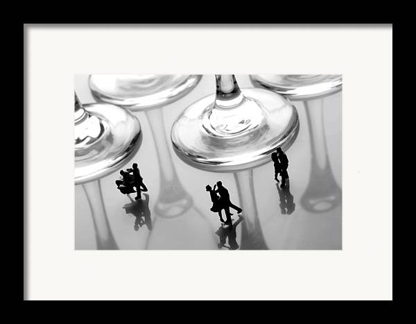 Black And White Framed Print featuring the painting Dancing Among Glass Cups by Paul Ge