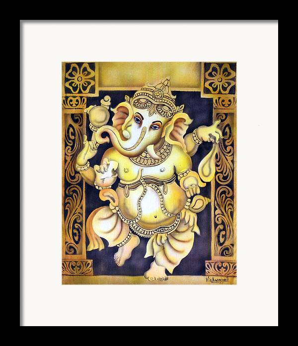Ganesh Framed Print featuring the painting Dancing Ganesh by Vishwajyoti Mohrhoff