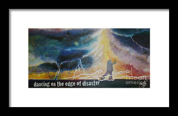Storm Clouds Tornado Lightning Heavy Weather Dance Dancing Carefree Framed Print featuring the painting Dancing On The Edge Of Disaster by Shirley Meyer