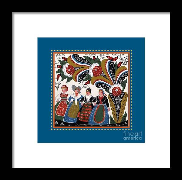 Swedish Folk Art Framed Print featuring the painting Dancing Women 4 by Leif Sodergren