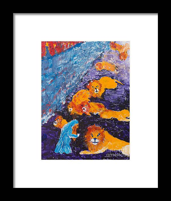 Jewish Art Framed Print featuring the painting Daniel And The Lions by Walt Brodis
