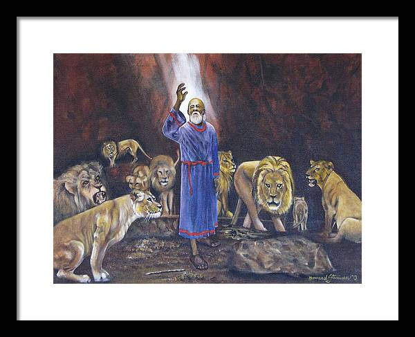 Daniel In The Lions Den; Lions; Animals; Rock; Bible; Biblical; Religion; Old Testiment; Framed Print featuring the painting Daniel by Howard Stroman
