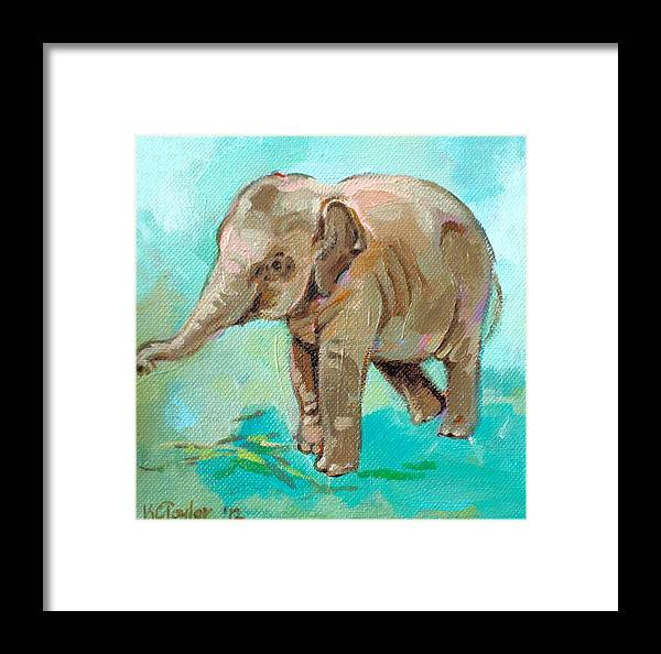 Elephant Framed Print featuring the painting Dante Teal by Kathleen Taylor