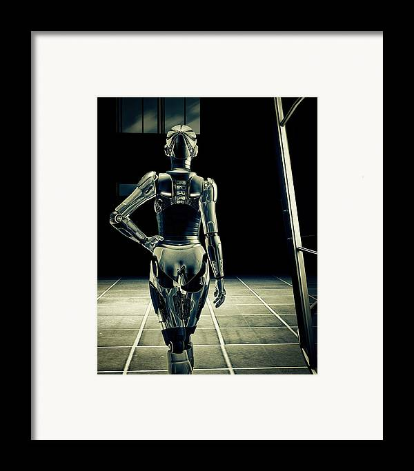 Technology Framed Print featuring the digital art Dark Hall by Bob Orsillo