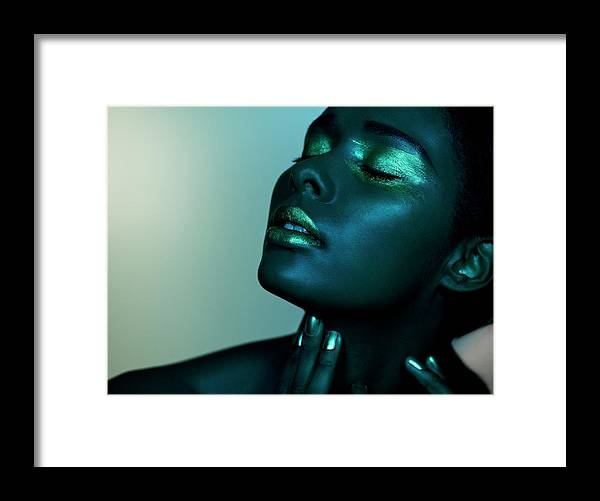 People Framed Print featuring the photograph Dark Image Of Black Female Closed Eyes by Jonathan Storey