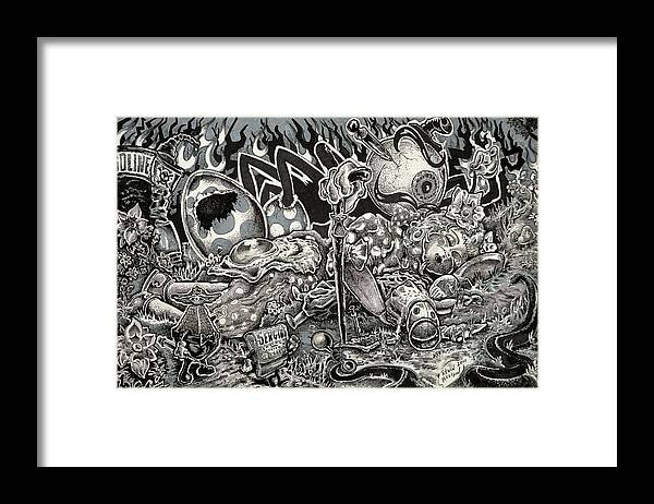 Framed Print featuring the drawing Dark Lullaby by Kevin Allison