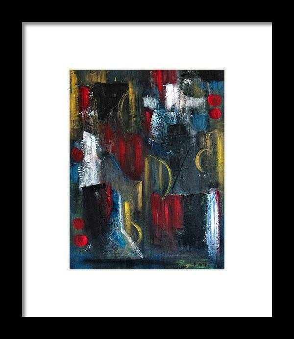 Abstract Framed Print featuring the painting Dark Nights by Karen Day-Vath