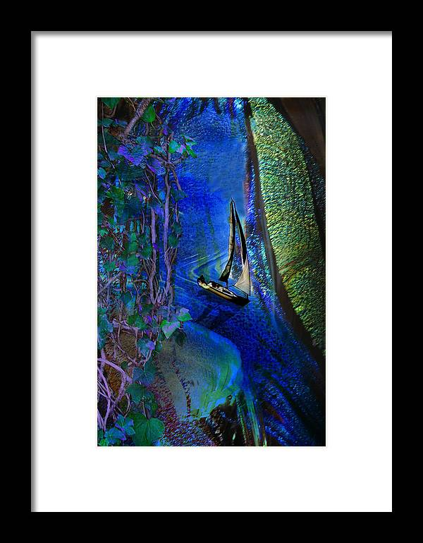 Dark River Framed Print featuring the digital art Dark River by Lisa Yount