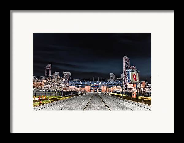 Dark Framed Print featuring the photograph Dark Skies At Citizens Bank Park by Bill Cannon