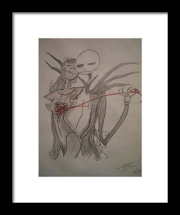 Darkness Framed Print featuring the drawing Darkness by Angelina Forcine