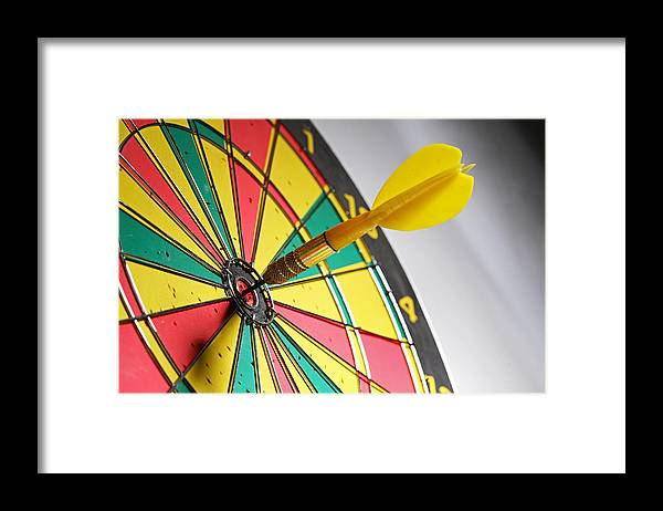 Scoring Framed Print featuring the photograph Dart On A Dartboard by Visage