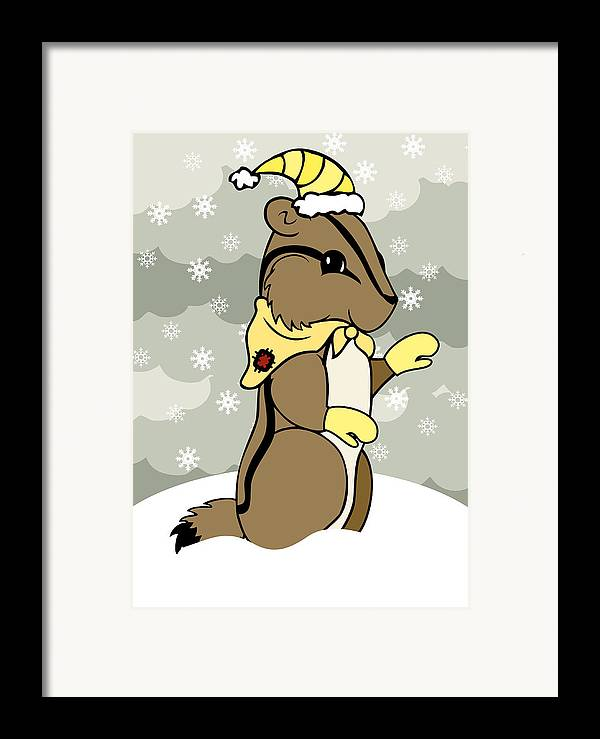 Chipmunk Framed Print featuring the digital art Dash Winter by Christy Beckwith