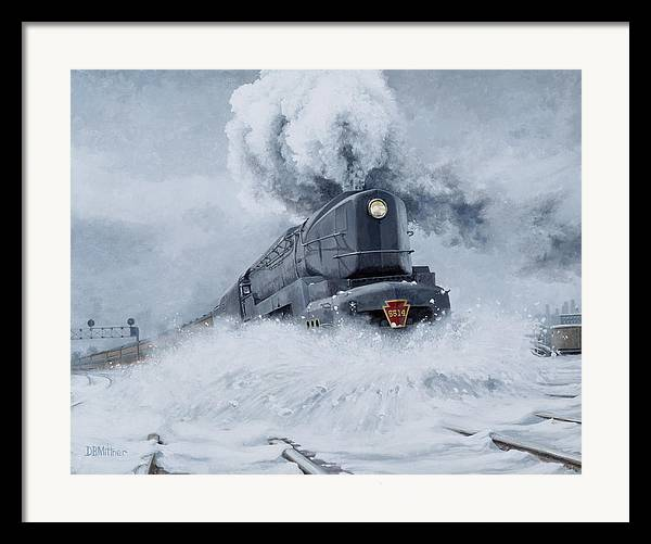 Trains Framed Print featuring the painting Dashing Through The Snow by David Mittner