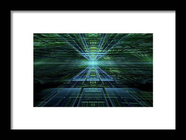 Fractal Framed Print featuring the digital art Data Pathways by GJ Blackman