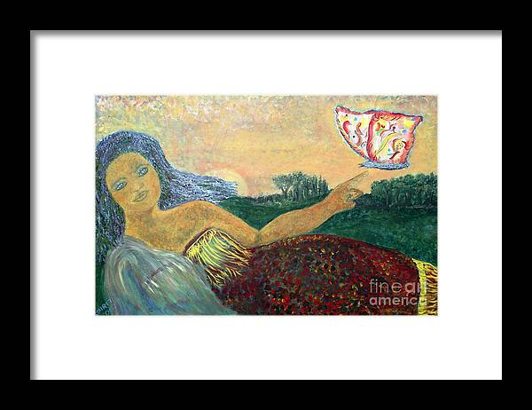 Nature Framed Print featuring the painting Daughter Earth by Tahnya Spirit