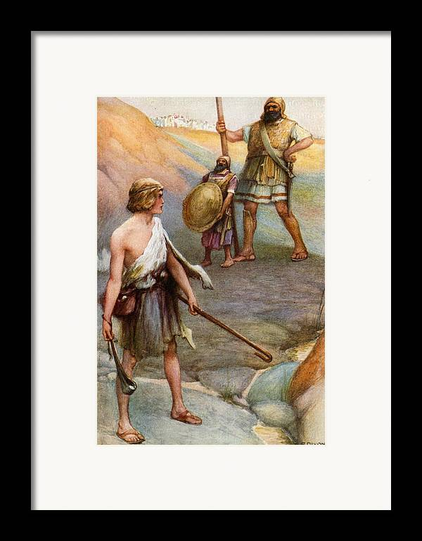 Bible Framed Print featuring the painting David And Goliath by Arthur A Dixon
