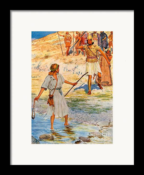 Bible; David; Goliath Framed Print featuring the drawing David And Goliath by William Henry Margetson