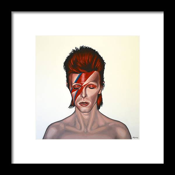 David Bowie Framed Print featuring the painting David Bowie Aladdin Sane by Paul Meijering
