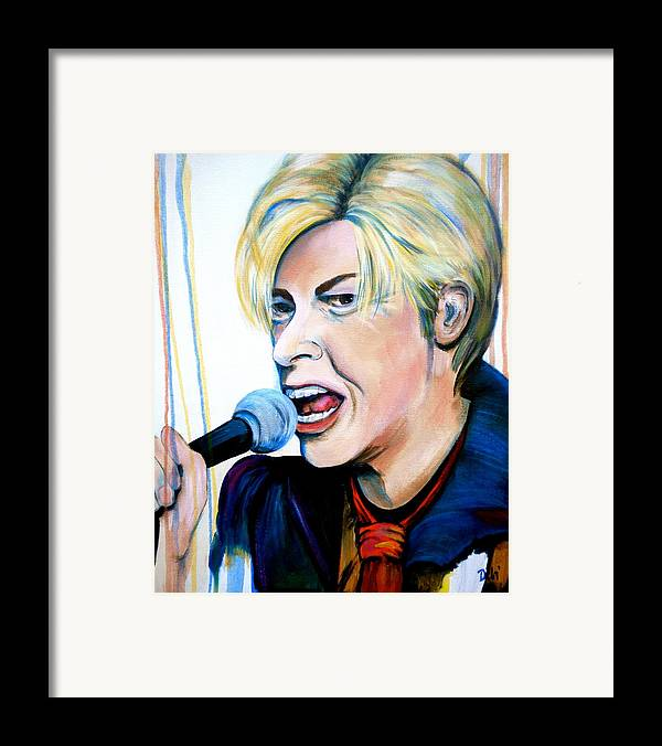 David Bowie Framed Print featuring the painting David Bowie by Debi Starr