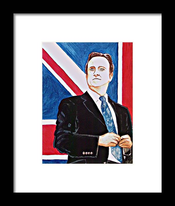David Cameron Prime Minister Great Brittan U.k. Politics Portrait Man Flag Politician Framed Print featuring the painting David Cameron 2010 by Ken Higgins