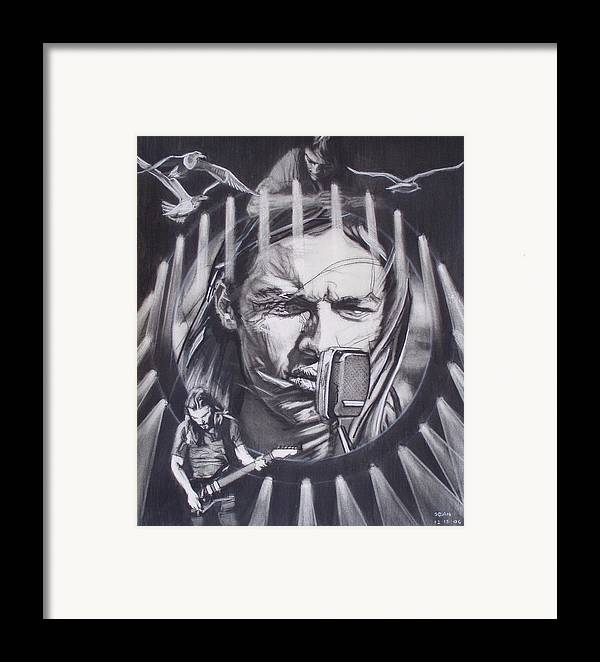 Portrait;live Performance;guitar;music;concert;lights;flight;gulls;seabirds Framed Print featuring the drawing David Gilmour Of Pink Floyd - Echoes by Sean Connolly