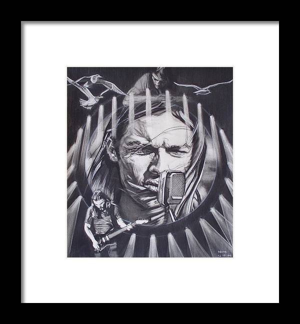Charcoal On Paper Framed Print featuring the drawing David Gilmour Of Pink Floyd - Echoes by Sean Connolly
