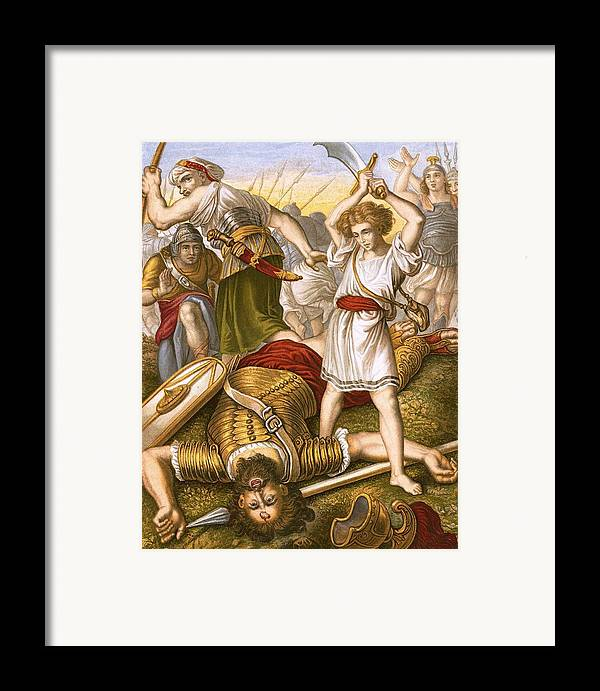 Bible Framed Print featuring the painting David Slaying Goliath by English School