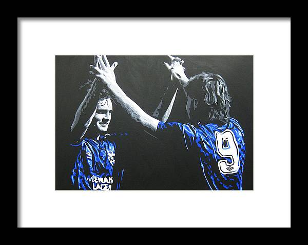Davie Cooper Framed Print featuring the painting Davie Cooper - Ally Mccoist - Glasgow Rangers Fc by Geo Thomson