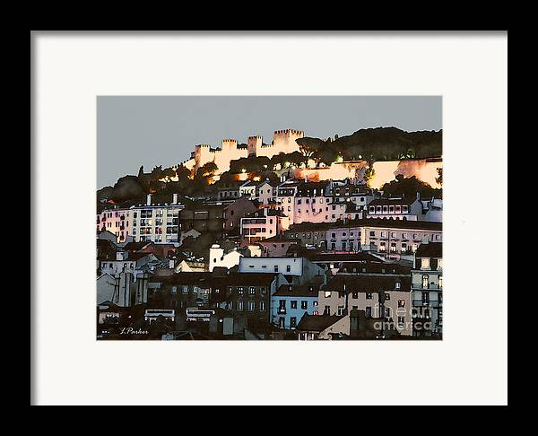 Abstract Framed Print featuring the photograph Dawn At St. George Castle Lisbon by Linda Parker