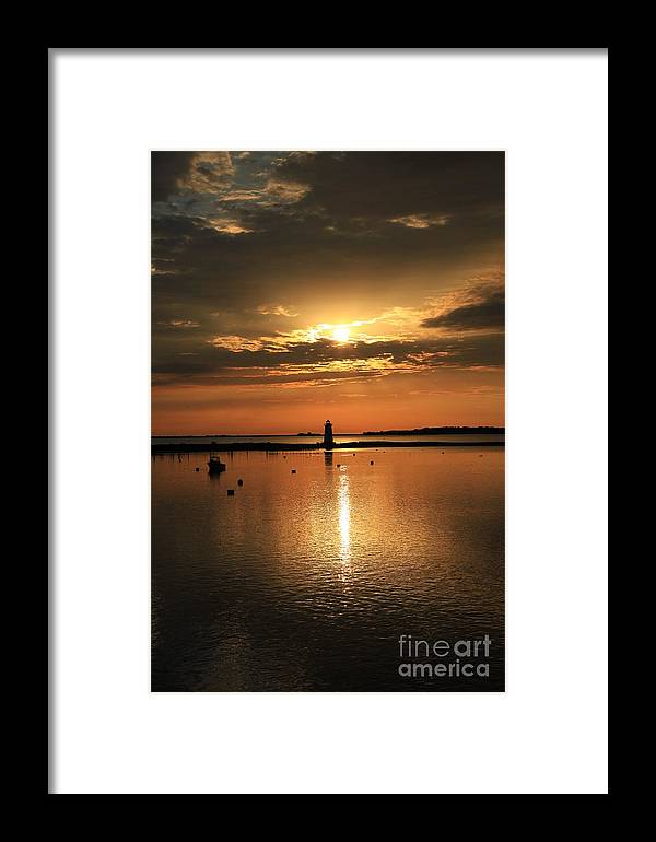 Dawn Framed Print featuring the photograph Dawn Edgartown Light II by Butch Lombardi
