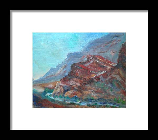 Virgin River Gorge Framed Print featuring the painting Dawn In The Gorge by Bryan Alexander
