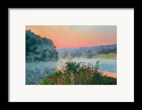 Impressionism Framed Print featuring the painting Dawn Reflection by Keith Burgess
