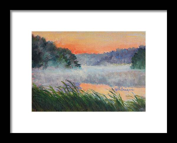 Impressionism Framed Print featuring the painting Dawn Reflection Study by Keith Burgess