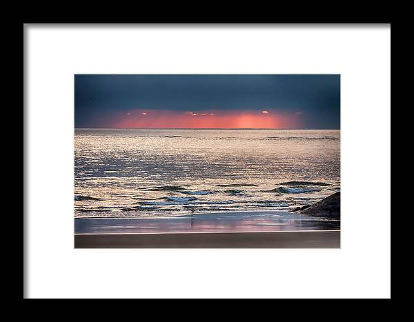 New England Framed Print featuring the photograph Dawns Red Sky Reflected by Jeff Folger