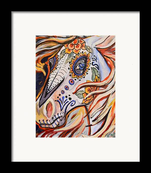 Horse Framed Print featuring the painting Day Of The Dead Horse by Jenn Cunningham